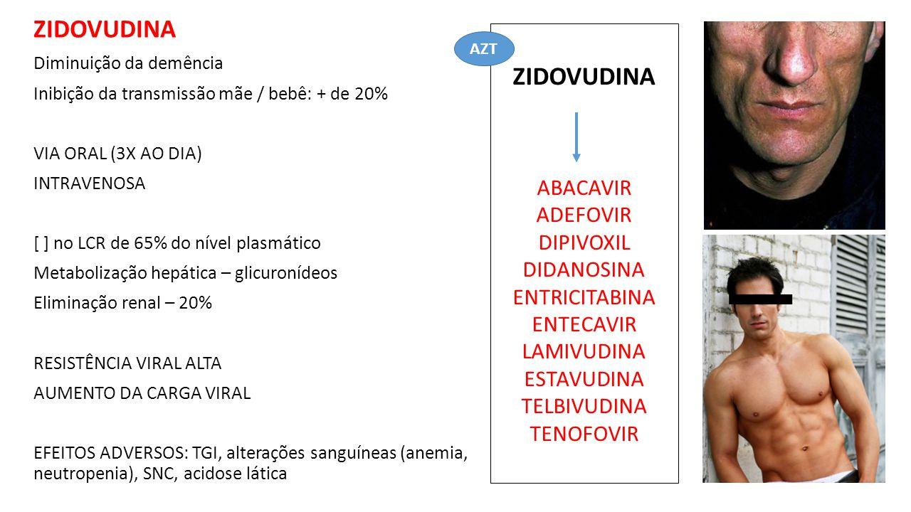 ZIDOVUDINA Diminuição da demência Inibição da transmissão mãe / bebê: + de 20% VIA ORAL (3X AO DIA) INTRAVENOSA [ ] no LCR de 65% do nível plasmático