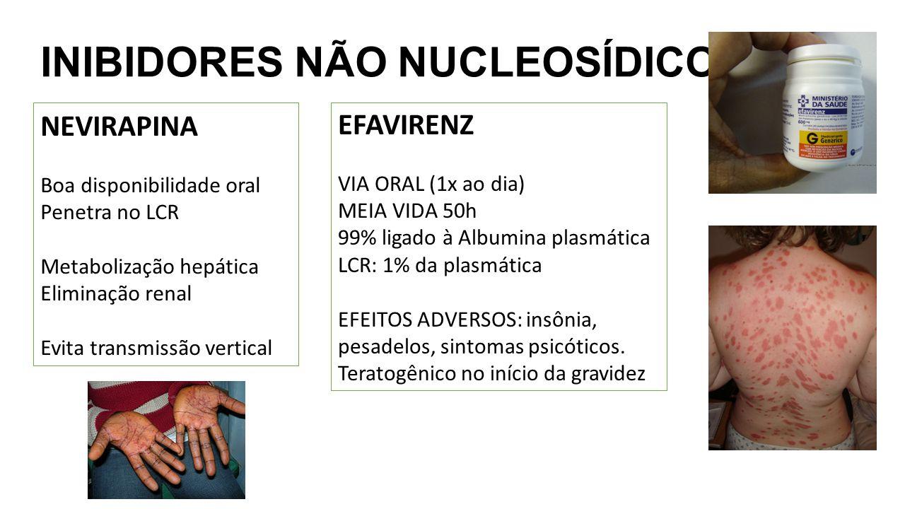 INIBIDORES NÃO NUCLEOSÍDICOS NEVIRAPINA Boa disponibilidade oral Penetra no LCR Metabolização hepática Eliminação renal Evita transmissão vertical EFA