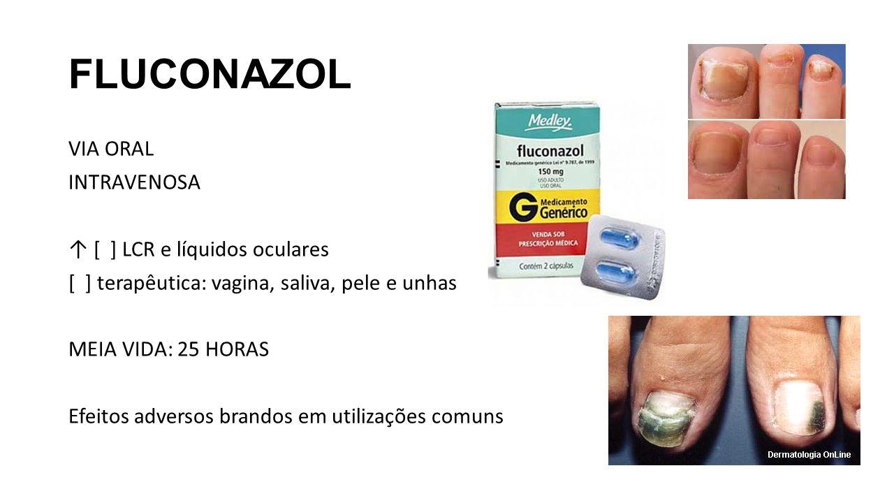 FLUCONAZOL VIA ORAL INTRAVENOSA ↑ [ ] LCR e líquidos oculares [ ] terapêutica: vagina, saliva, pele e unhas MEIA VIDA: 25 HORAS Efeitos adversos brand