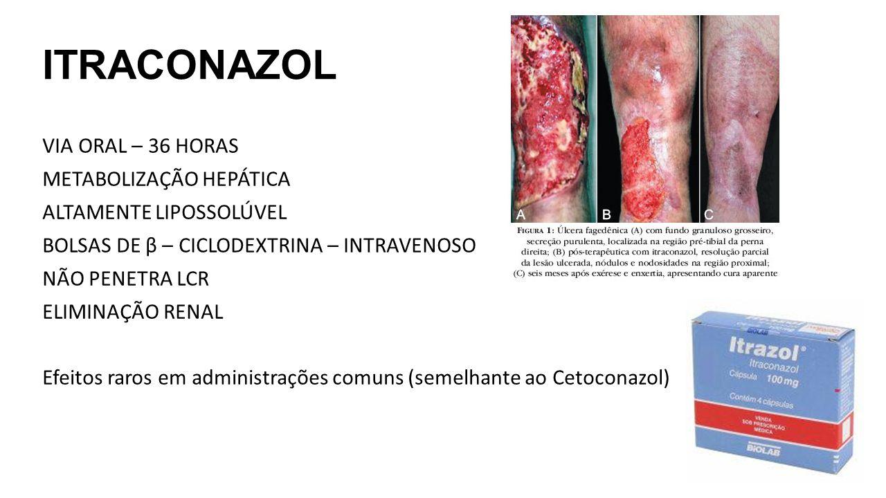 ITRACONAZOL VIA ORAL – 36 HORAS METABOLIZAÇÃO HEPÁTICA ALTAMENTE LIPOSSOLÚVEL BOLSAS DE β – CICLODEXTRINA – INTRAVENOSO NÃO PENETRA LCR ELIMINAÇÃO REN