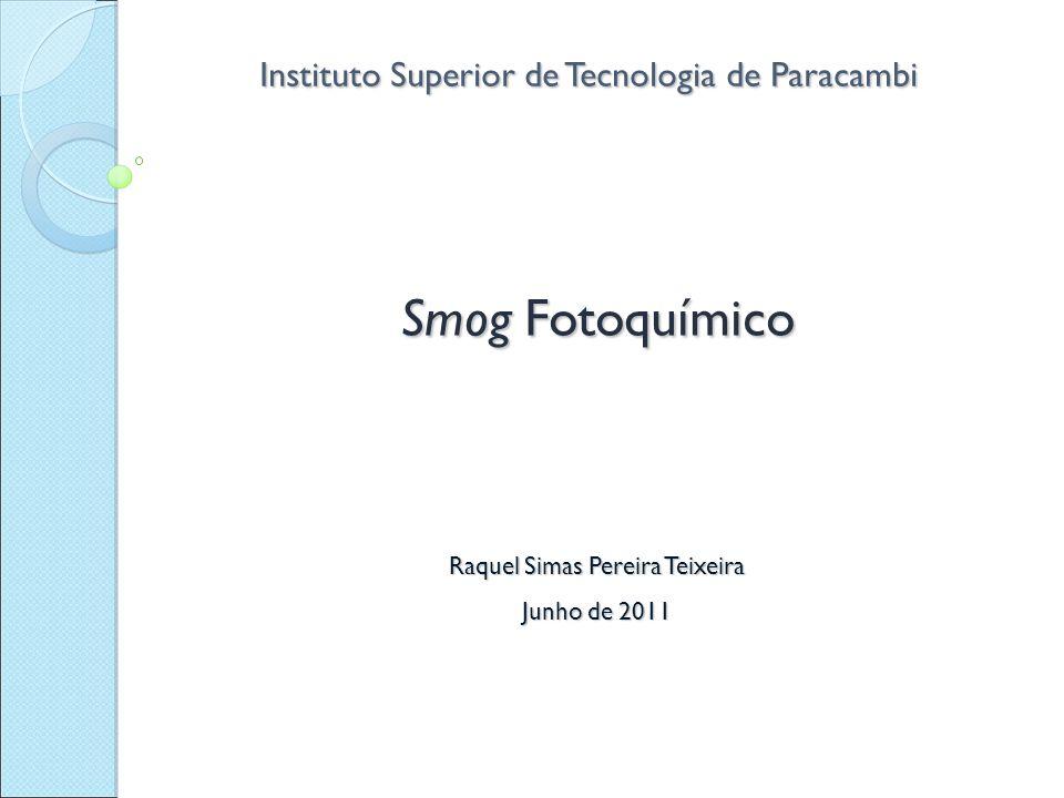 Instituto Superior de Tecnologia de Paracambi Smog Fotoquímico Raquel Simas Pereira Teixeira Junho de 2011
