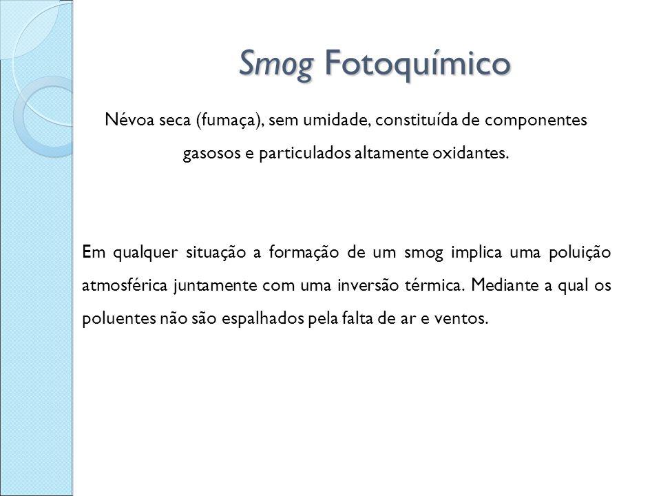 Smog Fotoquímico Névoa seca (fumaça), sem umidade, constituída de componentes gasosos e particulados altamente oxidantes. Em qualquer situação a forma