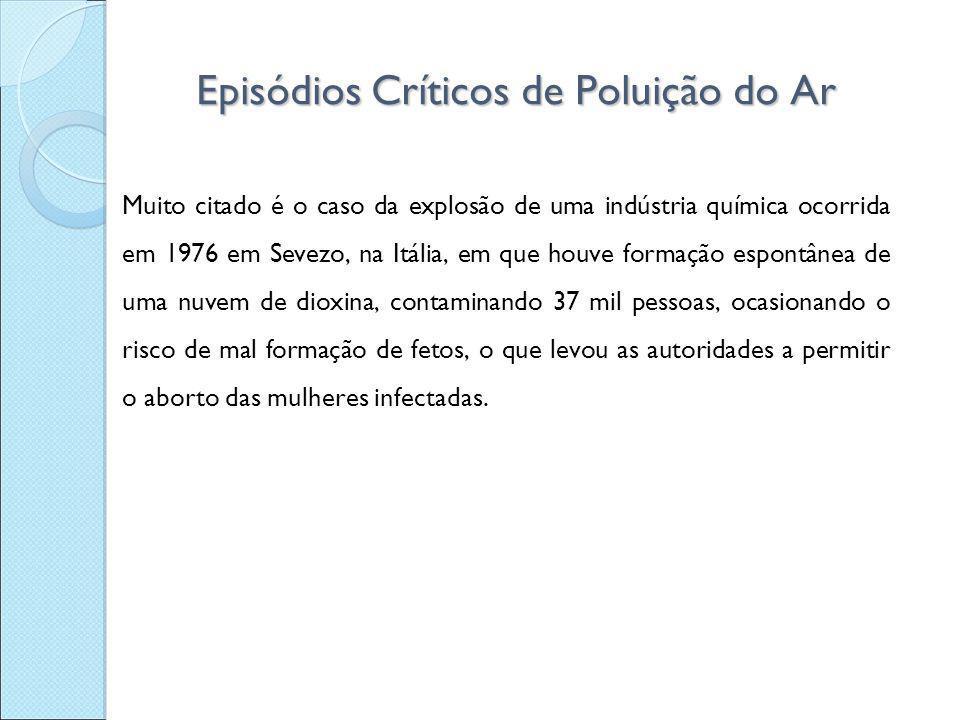 Episódios Críticos de Poluição do Ar Muito citado é o caso da explosão de uma indústria química ocorrida em 1976 em Sevezo, na Itália, em que houve fo