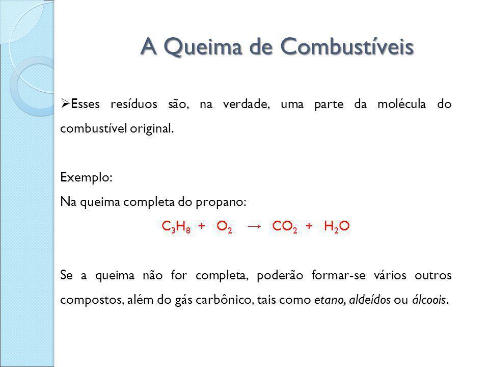 A Queima de Combustíveis  Esses resíduos são, na verdade, uma parte da molécula do combustível original. Exemplo: Na queima completa do propano: C 3