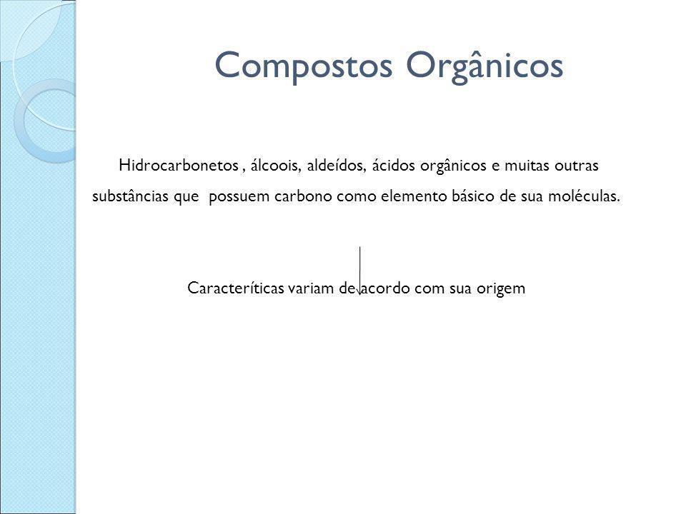 Compostos Orgânicos Hidrocarbonetos, álcoois, aldeídos, ácidos orgânicos e muitas outras substâncias que possuem carbono como elemento básico de sua m