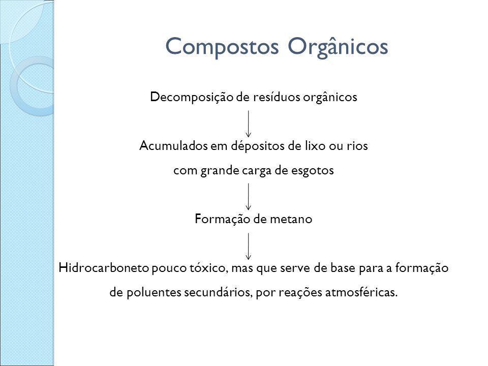 Compostos Orgânicos Decomposição de resíduos orgânicos Acumulados em dépositos de lixo ou rios com grande carga de esgotos Formação de metano Hidrocar