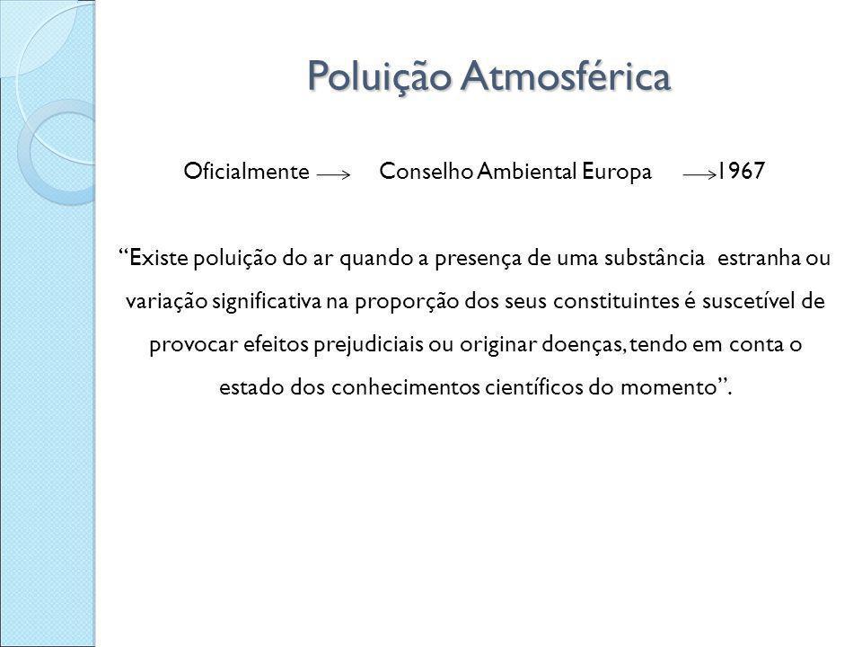 """Oficialmente Conselho Ambiental Europa 1967 """"Existe poluição do ar quando a presença de uma substância estranha ou variação significativa na proporção"""