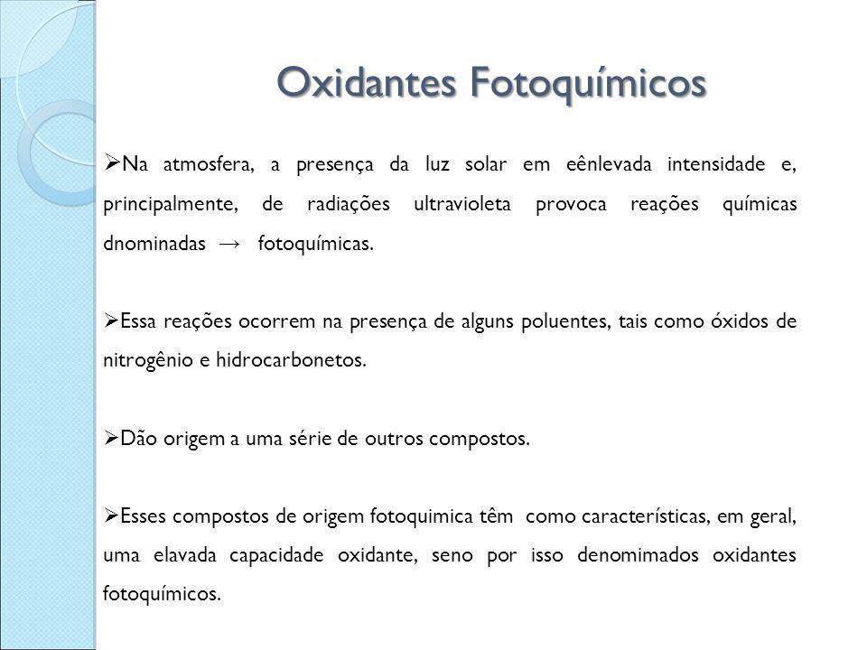 Oxidantes Fotoquímicos  Na atmosfera, a presença da luz solar em eênlevada intensidade e, principalmente, de radiações ultravioleta provoca reações q