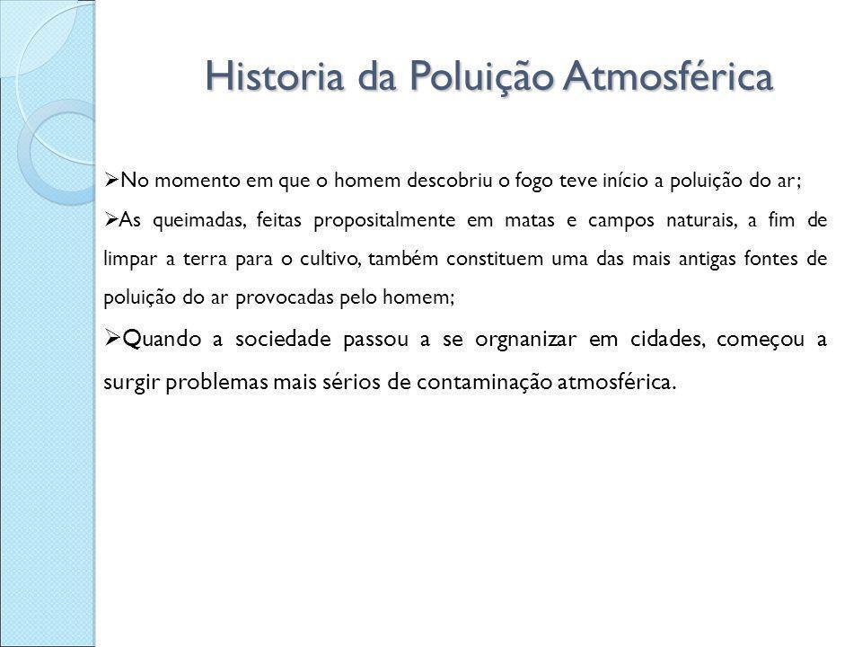 Historia da Poluição Atmosférica  No momento em que o homem descobriu o fogo teve início a poluição do ar;  As queimadas, feitas propositalmente em