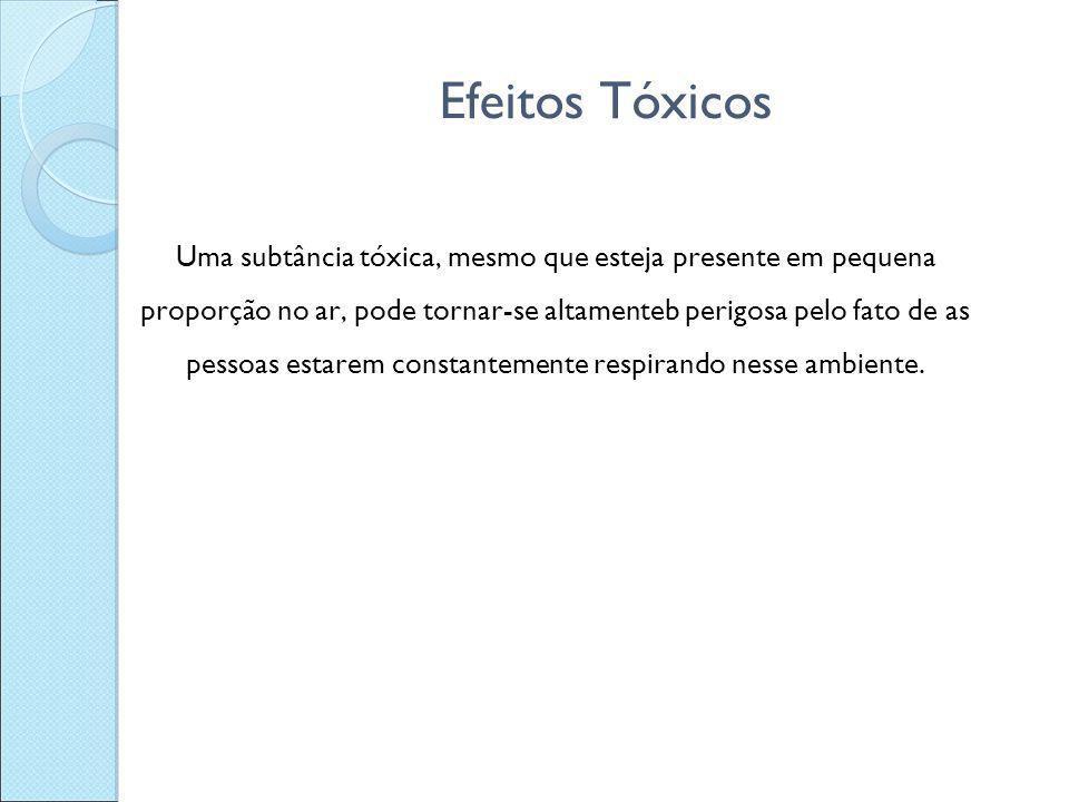 Efeitos Tóxicos Uma subtância tóxica, mesmo que esteja presente em pequena proporção no ar, pode tornar-se altamenteb perigosa pelo fato de as pessoas