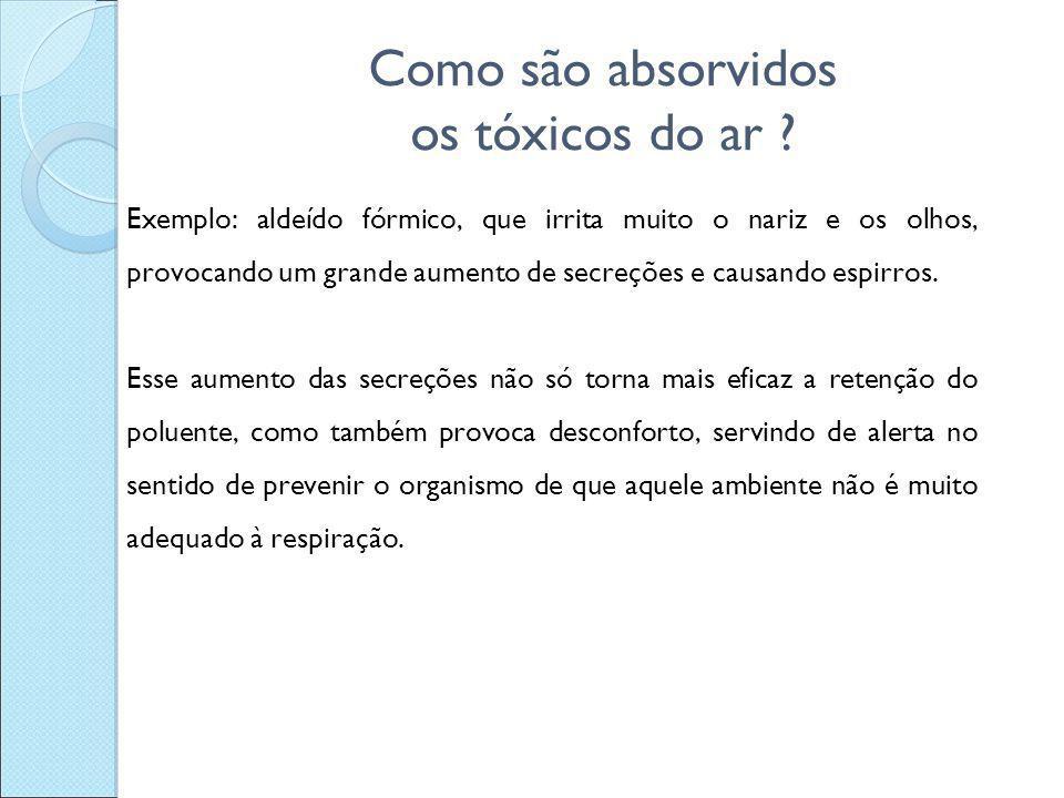 Como são absorvidos os tóxicos do ar ? Exemplo: aldeído fórmico, que irrita muito o nariz e os olhos, provocando um grande aumento de secreções e caus