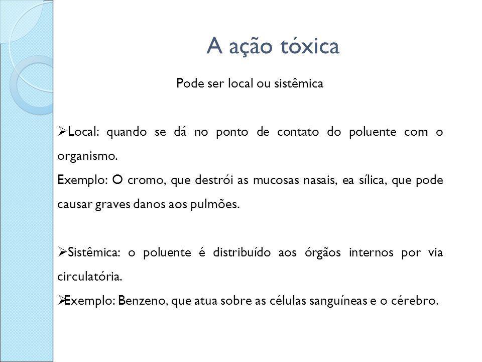 A ação tóxica Pode ser local ou sistêmica  Local: quando se dá no ponto de contato do poluente com o organismo. Exemplo: O cromo, que destrói as muco