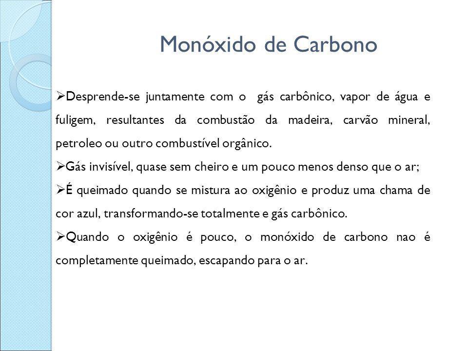 Monóxido de Carbono  Desprende-se juntamente com o gás carbônico, vapor de água e fuligem, resultantes da combustão da madeira, carvão mineral, petro