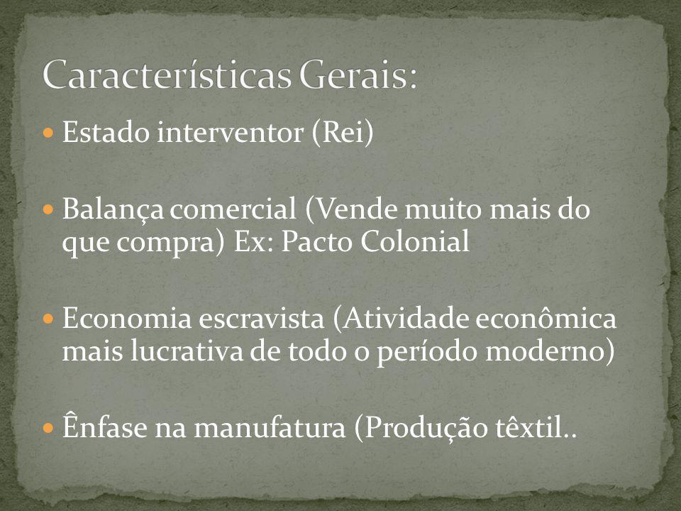 Estado interventor (Rei) Balança comercial (Vende muito mais do que compra) Ex: Pacto Colonial Economia escravista (Atividade econômica mais lucrativa de todo o período moderno) Ênfase na manufatura (Produção têxtil..