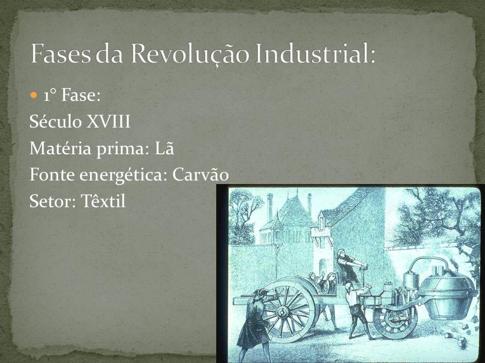 1° Fase: Século XVIII Matéria prima: Lã Fonte energética: Carvão Setor: Têxtil
