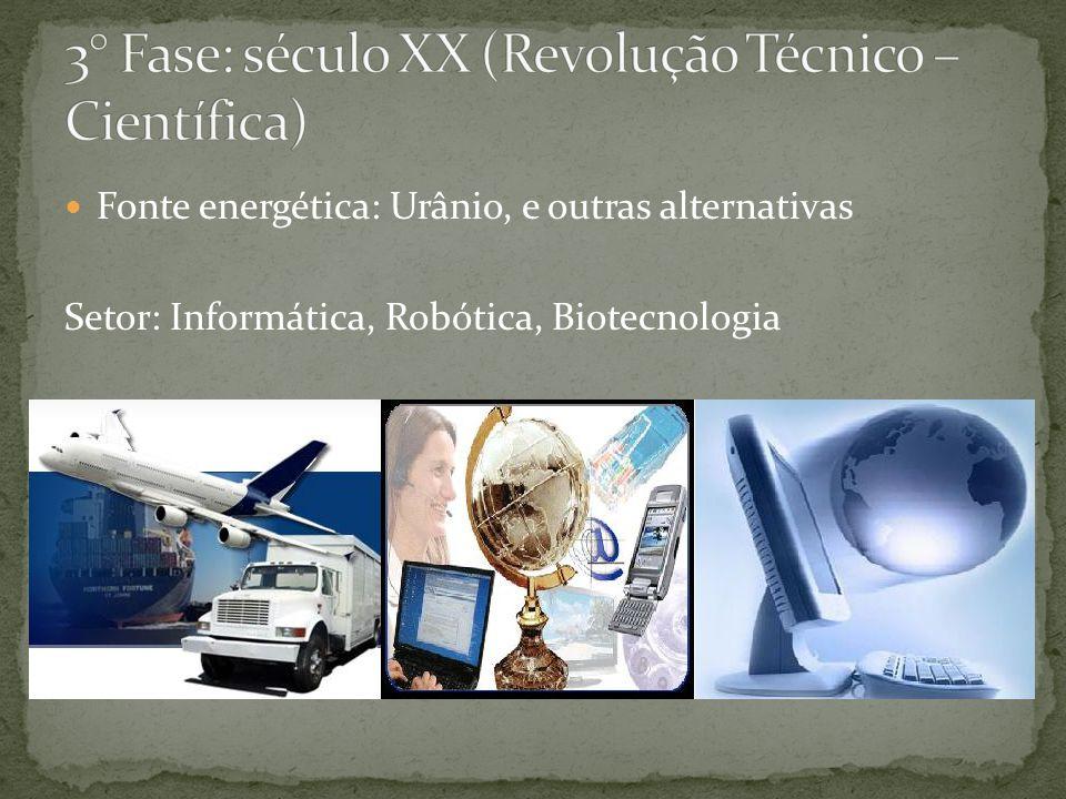 Fonte energética: Urânio, e outras alternativas Setor: Informática, Robótica, Biotecnologia