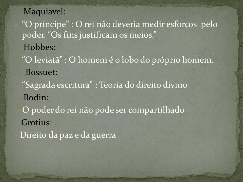 Maquiavel: - O príncipe : O rei não deveria medir esforços pelo poder.