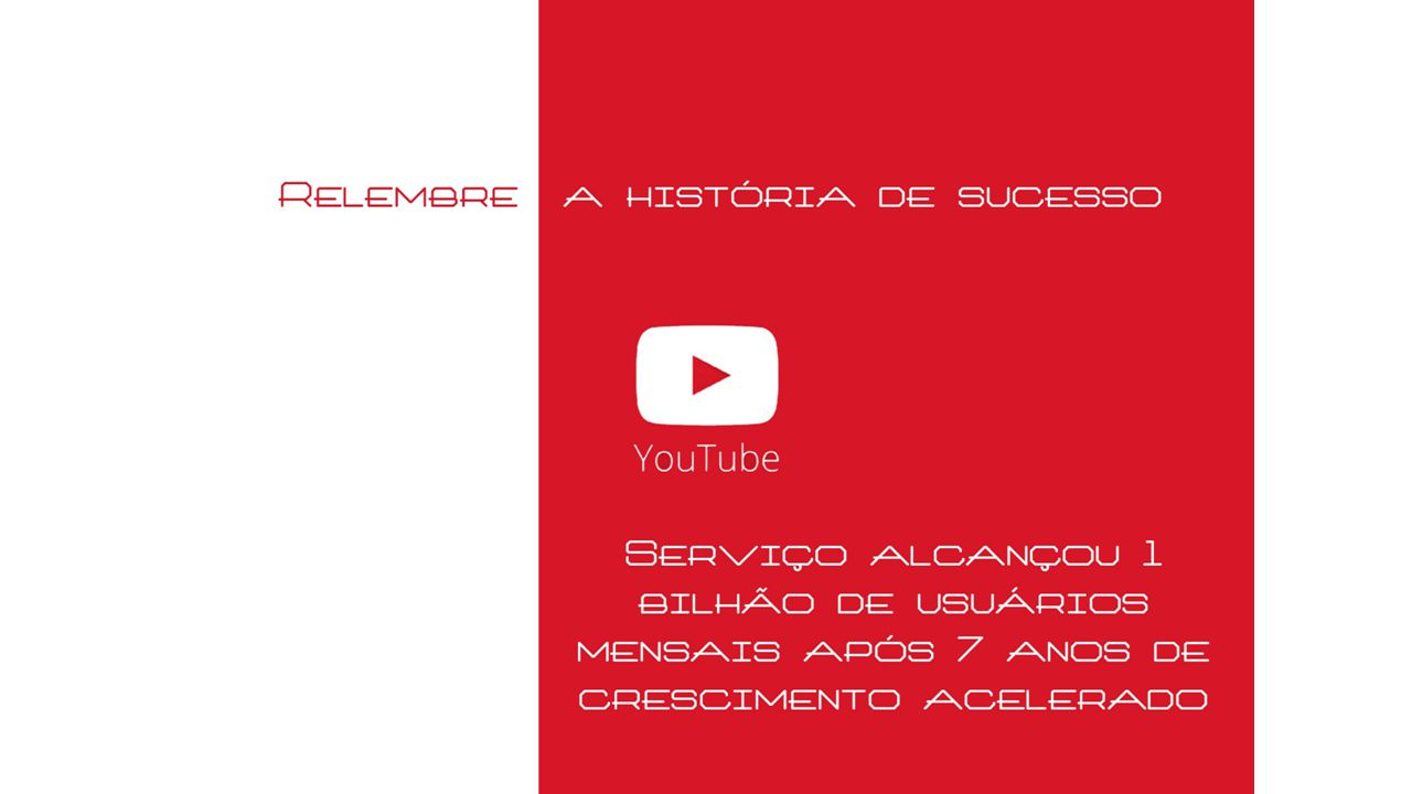 Fontes https://www.distilled.net/blog/metrics-to-measure-youtube-marketing/ http://www.workvalue.net/socialmedia/as-principais-metricas-do-youtube-engagement-e-retencao-visual/ http://www.tecnisa.com.br/press-releases/tecnisa-vende-apartamento-de-r-500-mil-pelo-twitter/273 http://youpix.virgula.uol.com.br/comportamento/oito-maneiras-de-como-o-youtube-mudou-o-curso-da-historia-em-oito-anos/ https://support.google.com/youtube/answer/1714323?hl=en http://www.techtudo.com.br/noticias/noticia/2013/11/twitter-ja-teve-outro-nome-e-visual-veja-evolucao-ate-o- lancamento.html http://exame.abril.com.br/negocios/noticias/twitter-ganha-forca-na-publicidade-com-compra-da-tapcommerce http://www.cafecomblogueiros.com.br/midia-social/publicidade-no-twitter/ http://www.techtudo.com.br/noticias/noticia/2012/03/evolucao-da-plataforma-do-twitter-em-imagens-e-videos.html