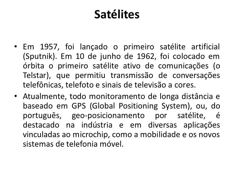 Satélites Em 1957, foi lançado o primeiro satélite artificial (Sputnik). Em 10 de junho de 1962, foi colocado em órbita o primeiro satélite ativo de c
