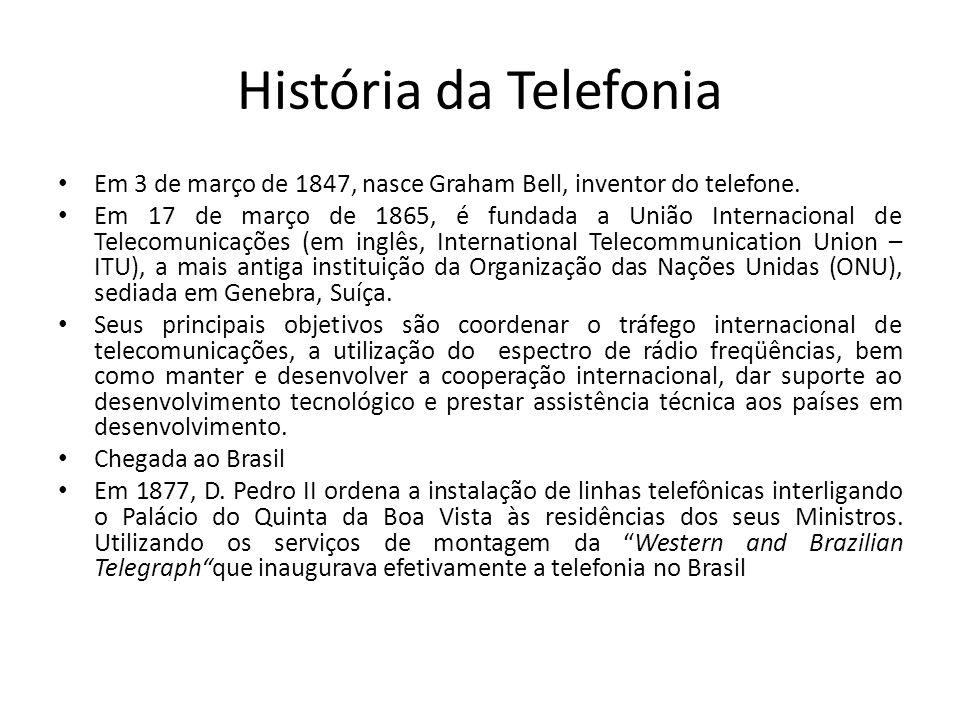 História da Telefonia Em 3 de março de 1847, nasce Graham Bell, inventor do telefone. Em 17 de março de 1865, é fundada a União Internacional de Telec