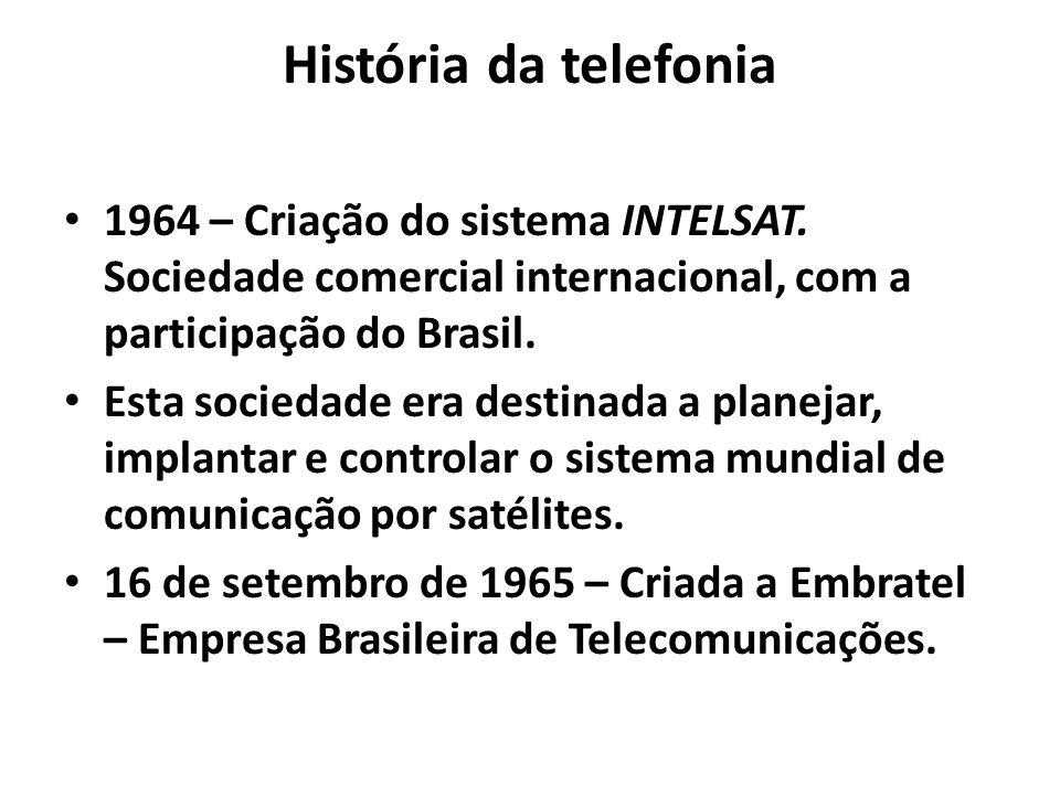 História da telefonia 1964 – Criação do sistema INTELSAT. Sociedade comercial internacional, com a participação do Brasil. Esta sociedade era destinad