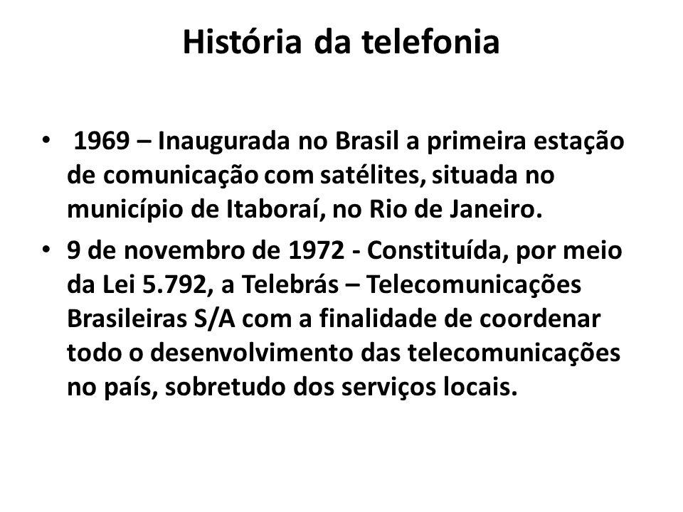 História da telefonia 1969 – Inaugurada no Brasil a primeira estação de comunicação com satélites, situada no município de Itaboraí, no Rio de Janeiro