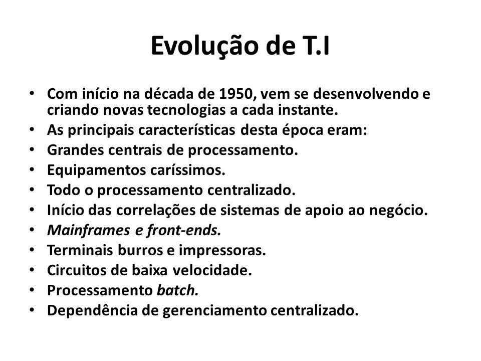 Evolução de T.I Com início na década de 1950, vem se desenvolvendo e criando novas tecnologias a cada instante. As principais características desta ép