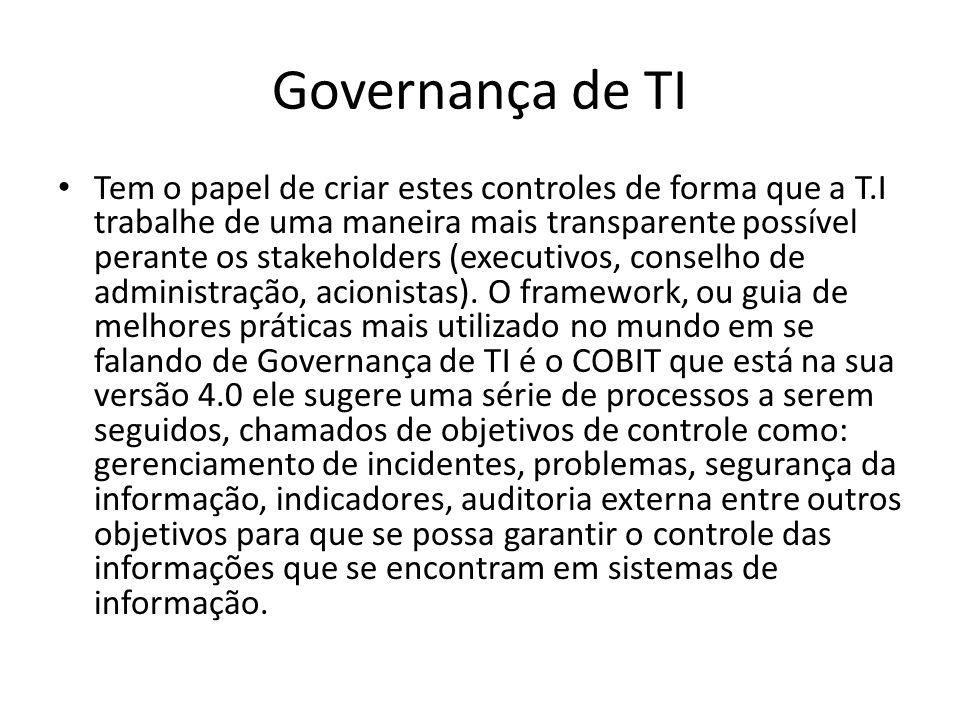 Governança de TI Tem o papel de criar estes controles de forma que a T.I trabalhe de uma maneira mais transparente possível perante os stakeholders (e