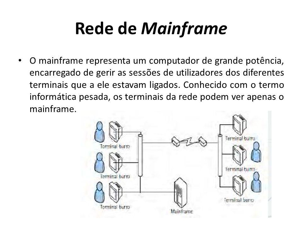 Rede de Mainframe O mainframe representa um computador de grande potência, encarregado de gerir as sessões de utilizadores dos diferentes terminais qu