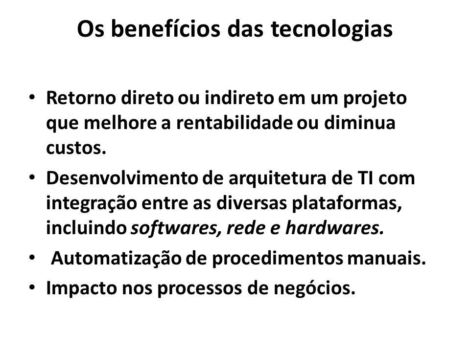 Os benefícios das tecnologias Retorno direto ou indireto em um projeto que melhore a rentabilidade ou diminua custos. Desenvolvimento de arquitetura d