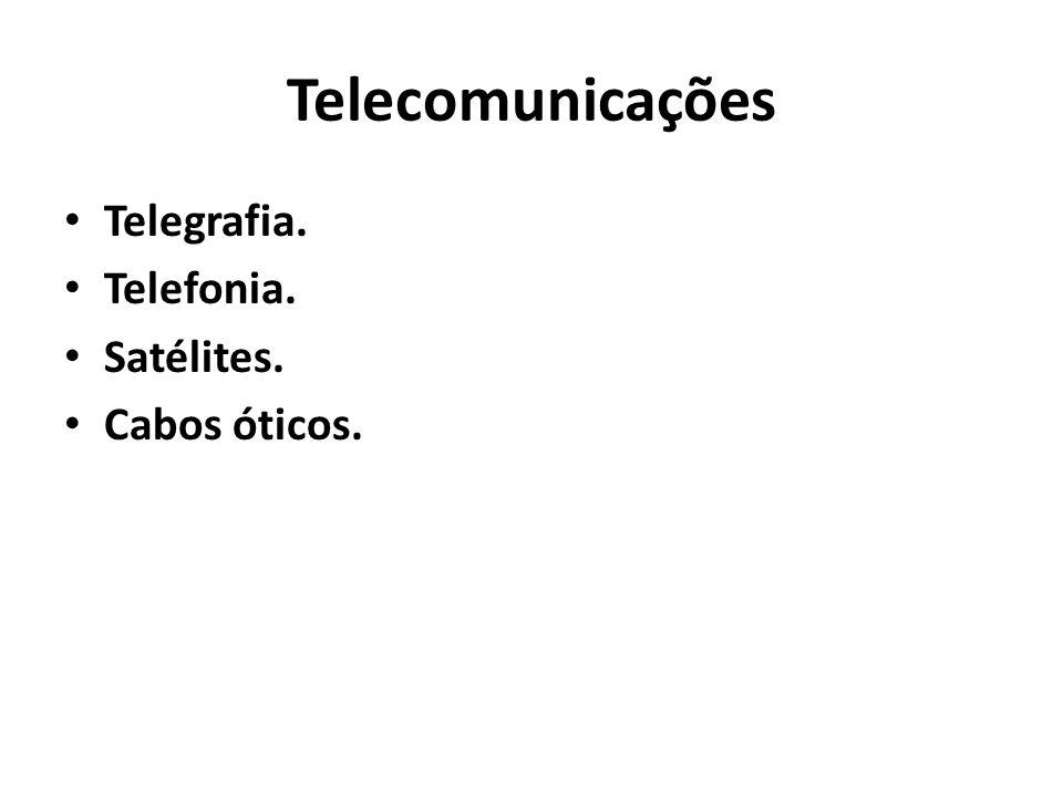Telecomunicações Telegrafia. Telefonia. Satélites. Cabos óticos.