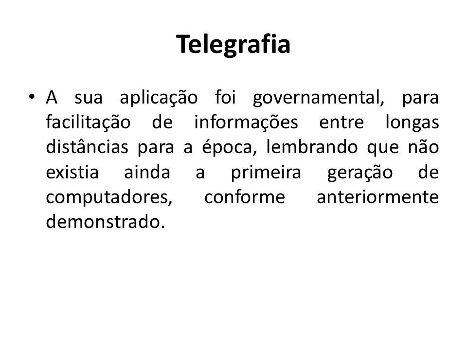 Telegrafia A sua aplicação foi governamental, para facilitação de informações entre longas distâncias para a época, lembrando que não existia ainda a