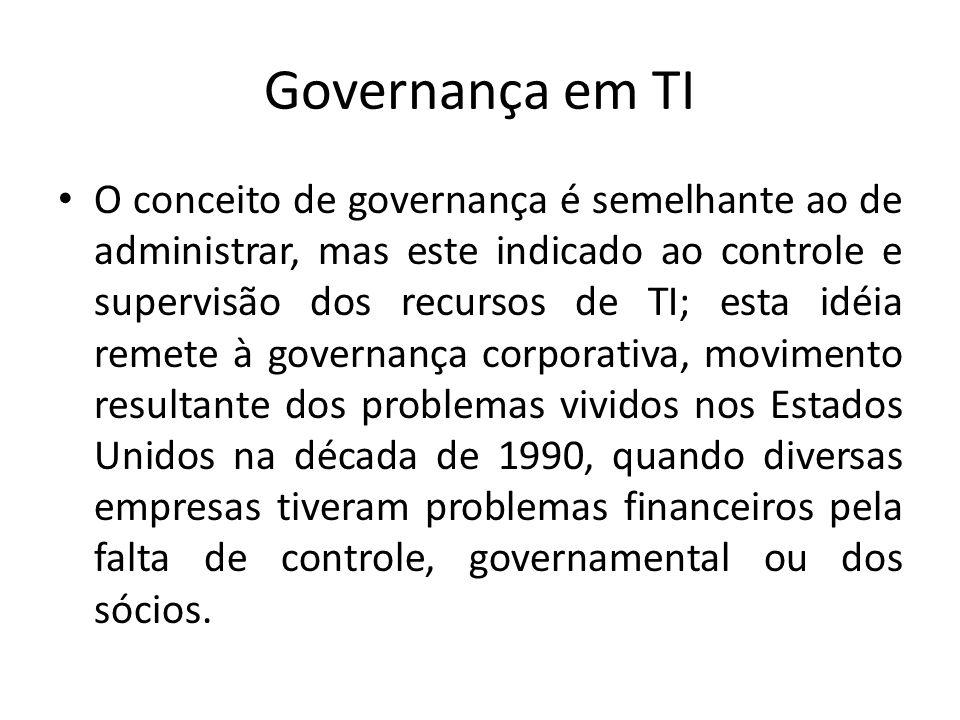 Governança em TI O conceito de governança é semelhante ao de administrar, mas este indicado ao controle e supervisão dos recursos de TI; esta idéia re