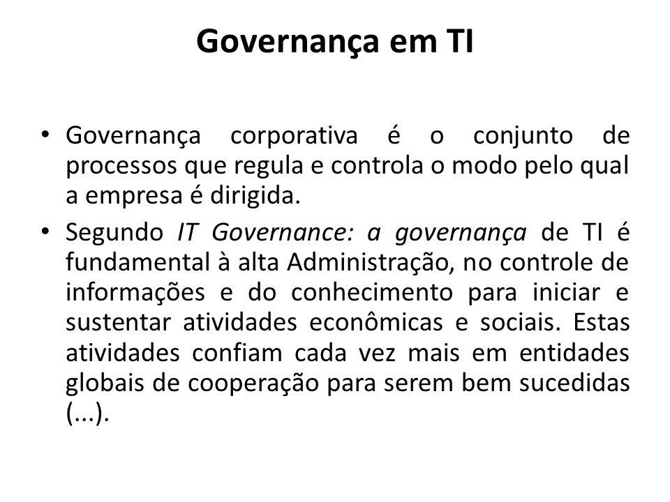 Governança em TI Governança corporativa é o conjunto de processos que regula e controla o modo pelo qual a empresa é dirigida. Segundo IT Governance: