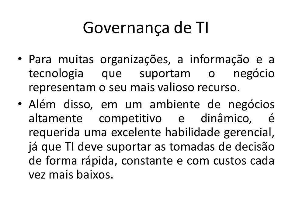 Governança de TI Para muitas organizações, a informação e a tecnologia que suportam o negócio representam o seu mais valioso recurso. Além disso, em u