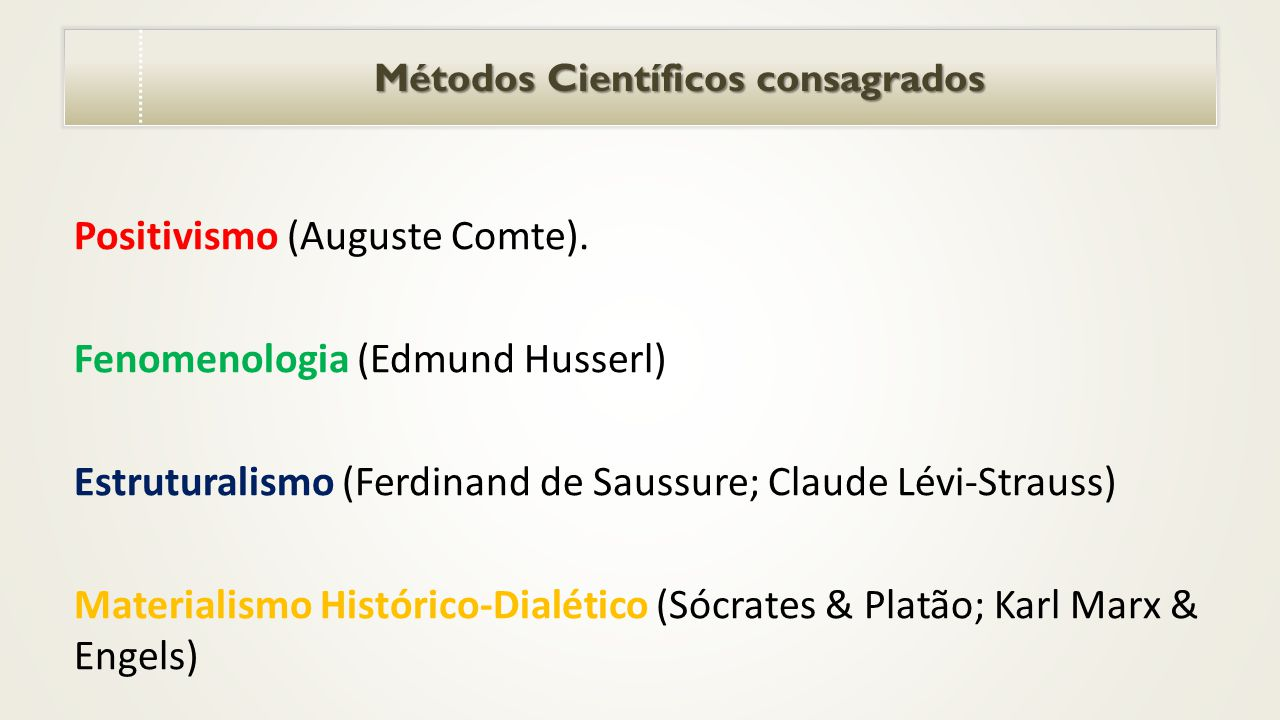 Métodos Científicos consagrados Métodos Científicos consagrados Positivismo (Auguste Comte).