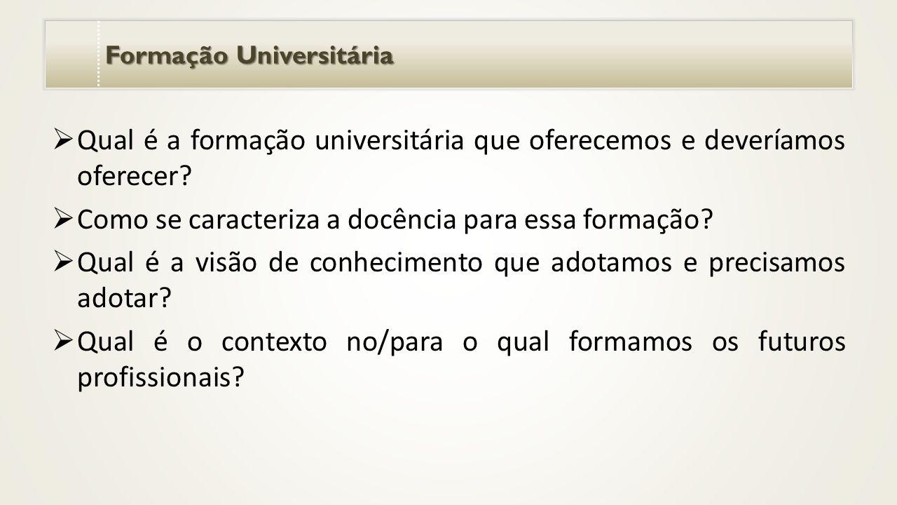 Formação Universitária  Qual é a formação universitária que oferecemos e deveríamos oferecer.