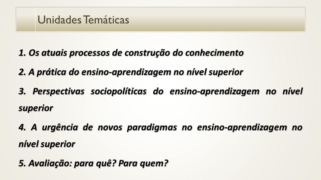 Unidades Temáticas 1.Os atuais processos de construção do conhecimento 2.