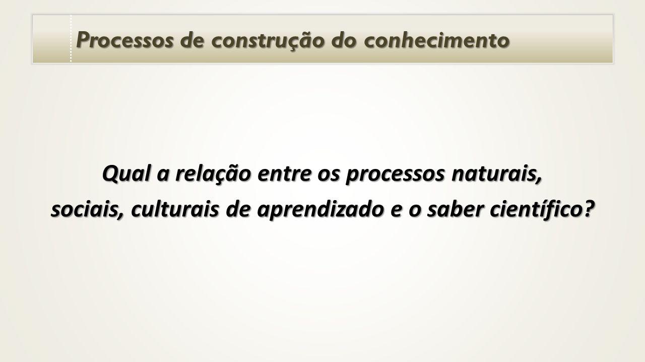 Processos de construção do conhecimento Qual a relação entre os processos naturais, sociais, culturais de aprendizado e o saber científico?