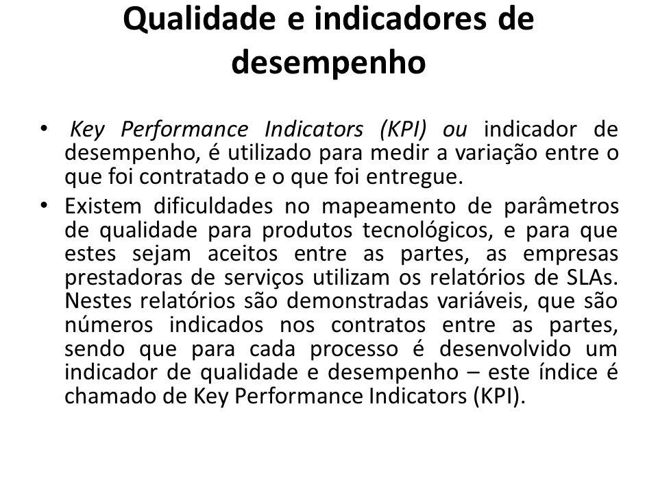Qualidade e indicadores de desempenho Key Performance Indicators (KPI) ou indicador de desempenho, é utilizado para medir a variação entre o que foi c