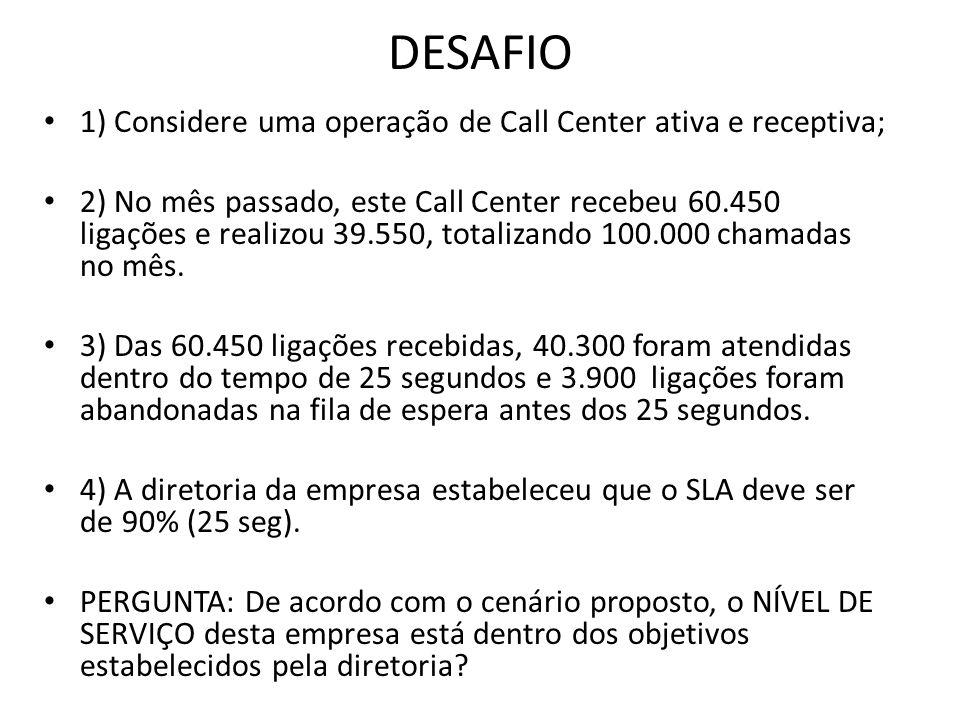 DESAFIO 1) Considere uma operação de Call Center ativa e receptiva; 2) No mês passado, este Call Center recebeu 60.450 ligações e realizou 39.550, tot