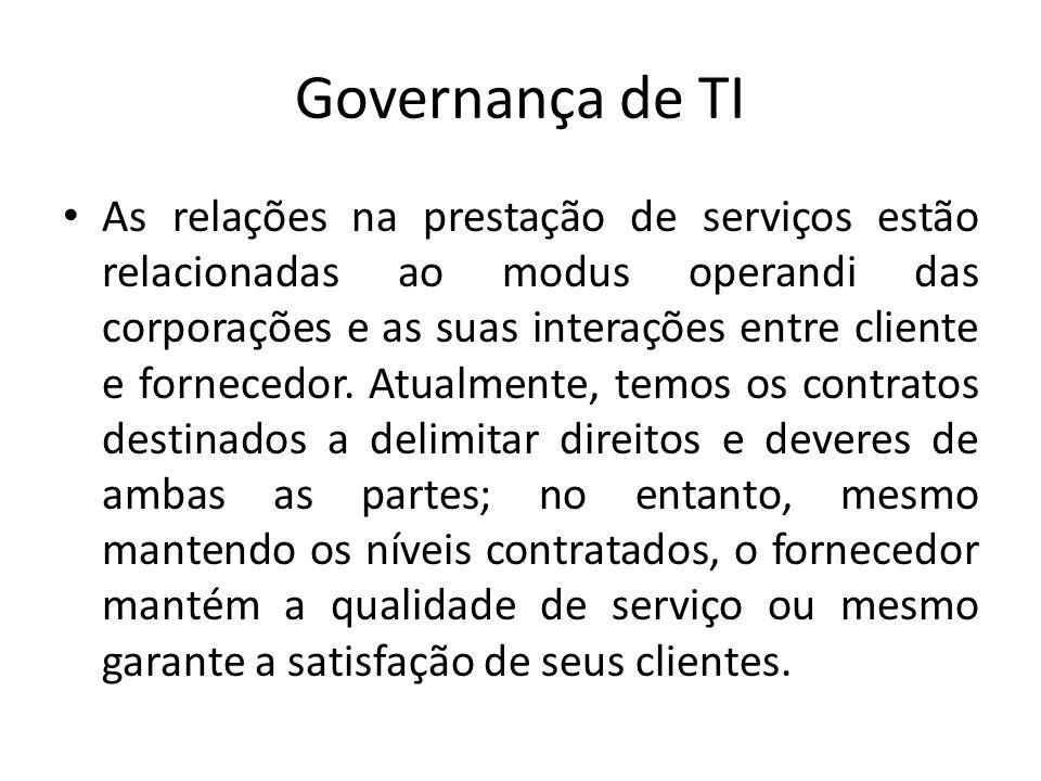 Governança de TI As relações na prestação de serviços estão relacionadas ao modus operandi das corporações e as suas interações entre cliente e fornec