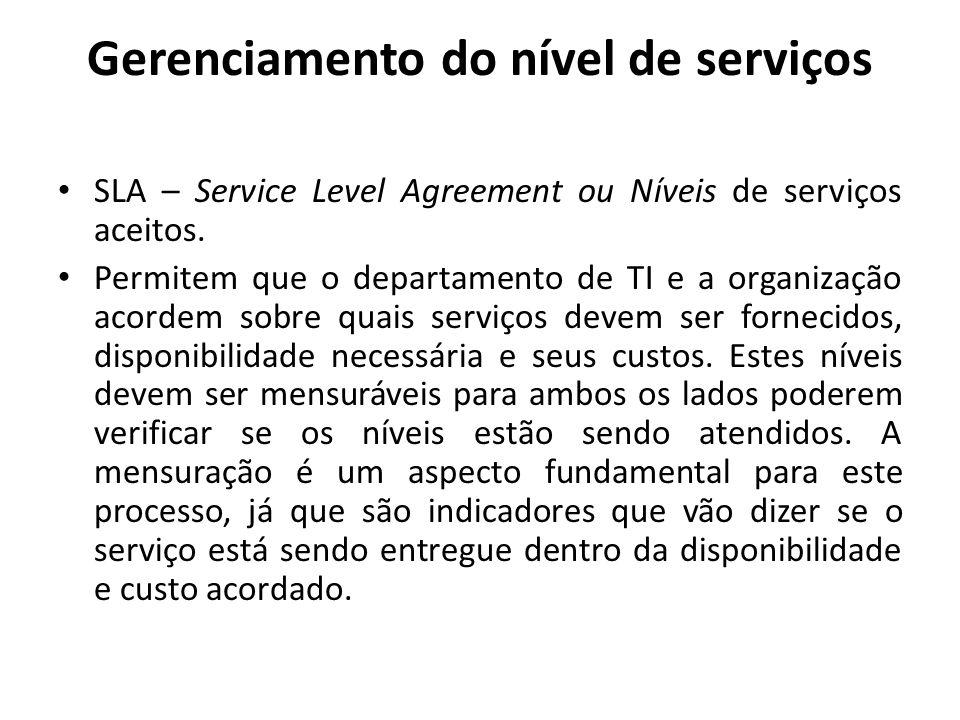 Gerenciamento do nível de serviços SLA – Service Level Agreement ou Níveis de serviços aceitos. Permitem que o departamento de TI e a organização acor