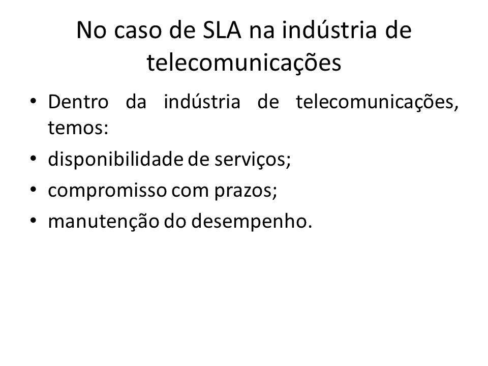 No caso de SLA na indústria de telecomunicações Dentro da indústria de telecomunicações, temos: disponibilidade de serviços; compromisso com prazos; m