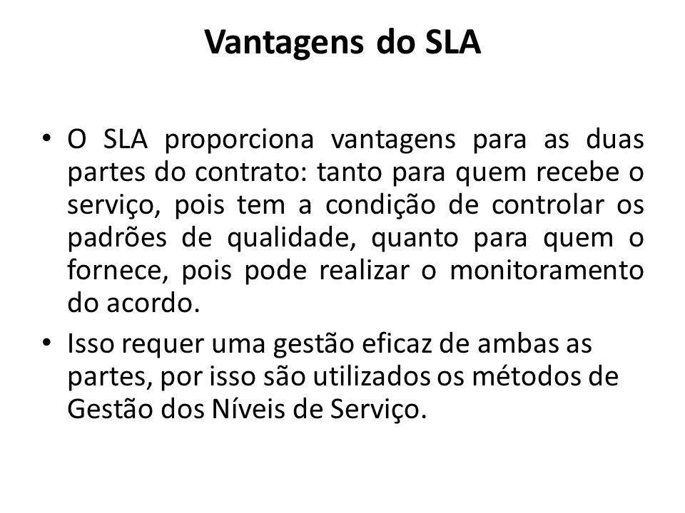 Vantagens do SLA O SLA proporciona vantagens para as duas partes do contrato: tanto para quem recebe o serviço, pois tem a condição de controlar os pa