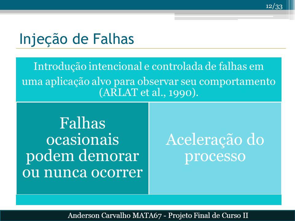 12/33 Introdução intencional e controlada de falhas em uma aplicação alvo para observar seu comportamento (ARLAT et al., 1990). Falhas ocasionais pode