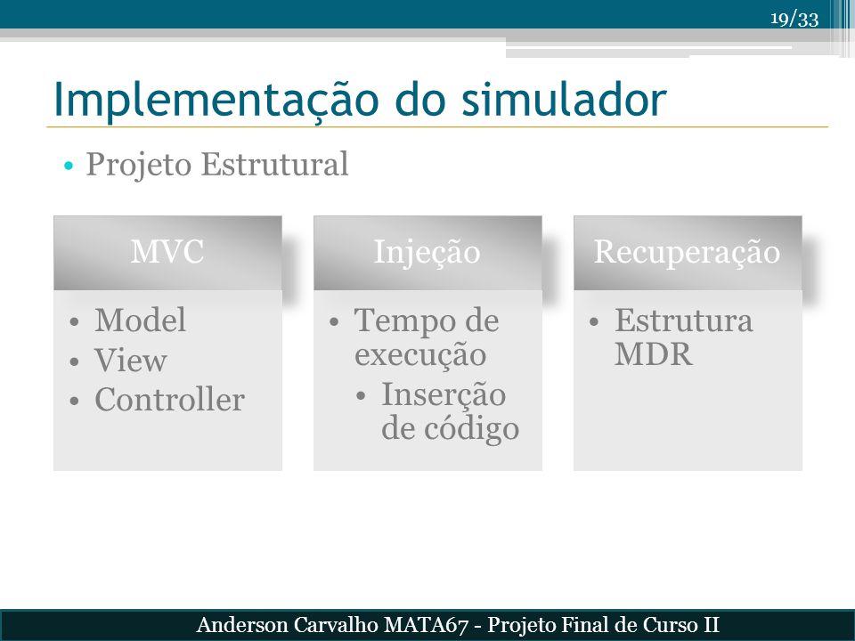 19/33 Implementação do simulador Projeto Estrutural MVC Model View Controller Injeção Tempo de execução Inserção de código Recuperação Estrutura MDR A