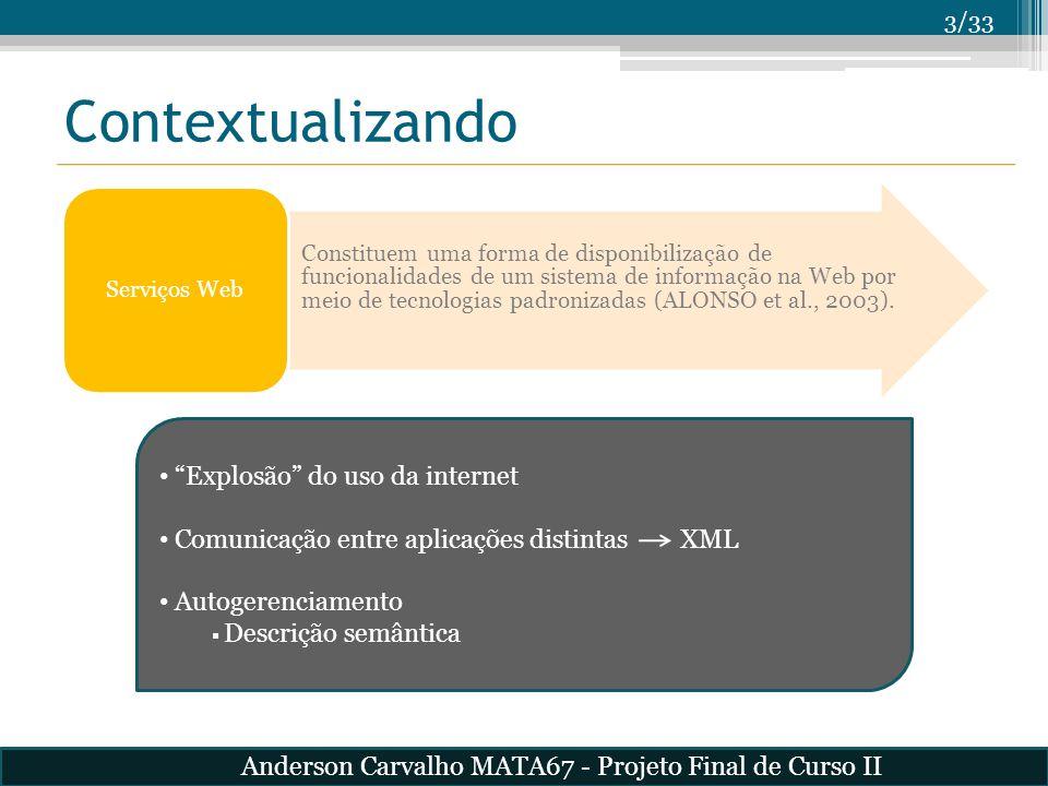 3/33 Contextualizando Constituem uma forma de disponibilização de funcionalidades de um sistema de informação na Web por meio de tecnologias padroniza