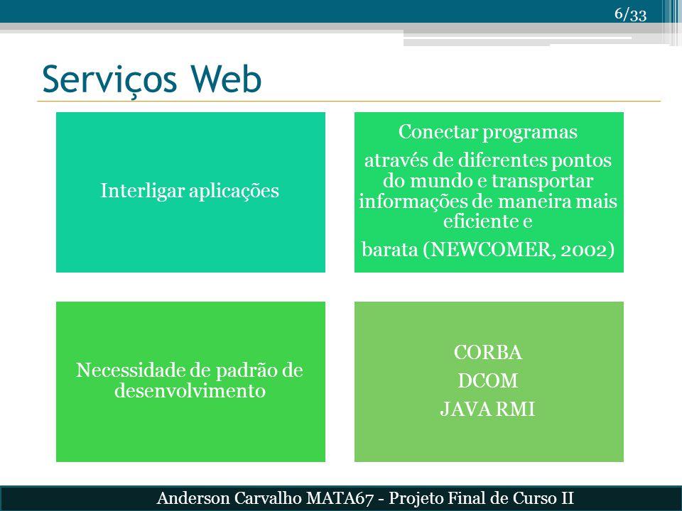 7/33 Serviços Web Arquitetura SOA SOAP – Padrão de troca de mensagens XML WSDL – Linguagem de descrição de serviços Anderson Carvalho MATA67 - Projeto Final de Curso II