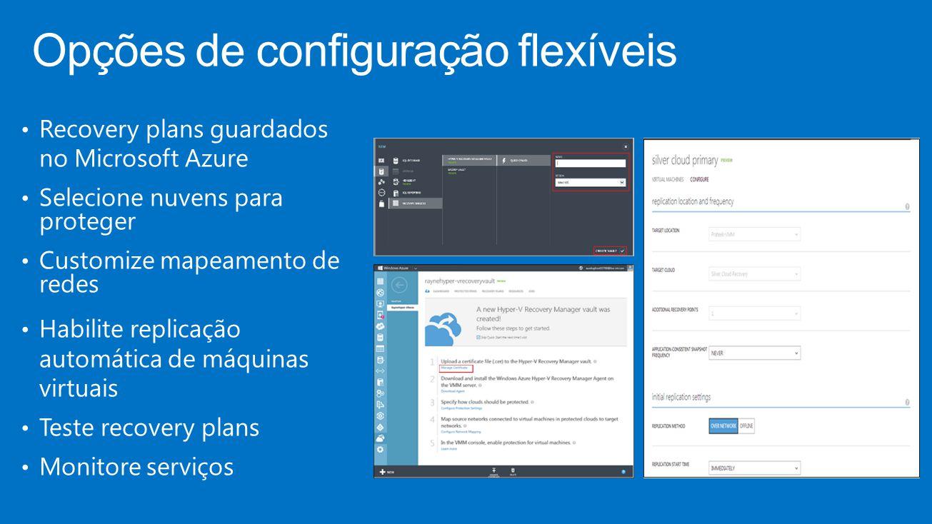 Opções de configuração flexíveis Recovery plans guardados no Microsoft Azure Selecione nuvens para proteger Customize mapeamento de redes Habilite replicação automática de máquinas virtuais Teste recovery plans Monitore serviços